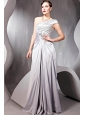 Grey Empire One Shoulder Floor-length Elastic Woven Satin Sequins and Rhinestone Prom / Party Dress