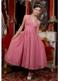 Pink A-Line / Princess Halter Ankle-length Chiffon Bridemaid Dress