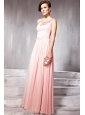 Watermelon Empire One Shoulder Floor-length Chiffon Rhinestone and Sequins Prom / Party Dress