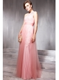 Baby Pink Empire One Shoulder Floor-length Tulle Lace and Beading Prom/Pageant Dress