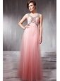 Watermelon Empire Scoop Floor-length Tulle Beading Prom / Party Dress