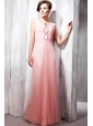 Watermelon Empire V-neck Floor-length Tulle Beading Prom / Party Dress