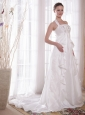 Beautiful A-Line / Princess Halter Brush Train Taffeta Rhinestone Wedding Dress
