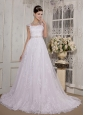 Pretty A-Line / Princess Square Court Train Satin and Lace Wedding Dress