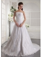 Popular A-line / Princess Strapless Chapel Train Satin and Lace Beading Wedding Dress