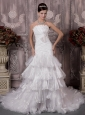 Beautiful A-Line / Princess Strapless Chapel Train Satin and Organza Appliques Wedding Dress