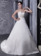 Affordable  A-Line / Princess Strapless Chapel Train Satin Beading Wedding Dress