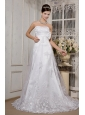 Beautiful A-Line / Princess Strapless Sweep / Brush Train Satin and Lace Wedding Dress