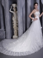 Gorgeous A-Line / Princess Straps Chapel Train Taffeta and Organza Beading and Appliques Wedding Dress