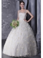 Pretty  A-Line / Princess V-neck Floor-length Tulle and Taffeta Beading  and Hand Flowers Wedding Dress