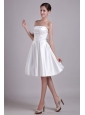 Simple A-line Strapless Knee-length Elastic Wove Satin Bowknot Wedding Dress