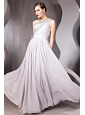 Grey Empire One Shoulder Floor-length Chiffon Sequins Prom / Evening Dress