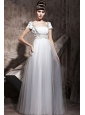 White Empire Square Floor-length Tulle Rhinestones Prom Dress