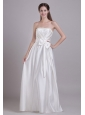 Affordable Empire Strapless Floor-length Taffeta Beading and Bowknot Wedding Dress