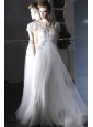 White Empire Sweetheart Floor-length Chiffon and Organza Beading Prom Dress