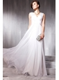 White Empire V-neck Floor-length Chiffon Beading Prom / Party Dress
