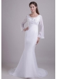 Traditional  Trumpet / Mermaid Scoop Brush Train Chiffon and Satin Embroidery Wedding Dress