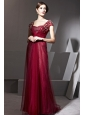 Wine Red Empire Square Floor-length Chiffon Beading and Ruch Prom / Celebrity Dress