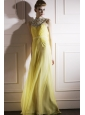 Light Yellow Empire High-neck Floor-length Chiffon Beading Prom Dress