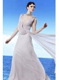 Grey Empire High Neck Floor-length Chiffon Beading Prom Dress