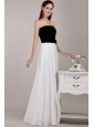 Black and White Empire Strapless Floor-length Chiffon Ruffles Prom Dress