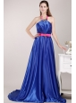 Blue Empire Halter Top Brush Elastic Woven Satin Beading and Sash Prom / Pageant Dress