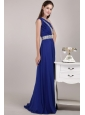 Blue Empire One Shoulder Floor-length Chiffon Sequins Prom / Evening Dress