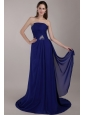 Peacock Blue Empire Strapless Court Train Chiffon Sequins Prom Dress