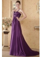Eggplant Empire One Shoulder Brush Train Elastic Woven Satin Beading and Ruch Prom / Graduation Dress