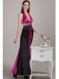 Fuchsia and Black Empire Halter Ankle-length Elastic Woven Satin Beading Prom Dress