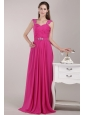 Fuchsia Empire Straps Floor-length Chiffon Beading Prom / Pageant Dress