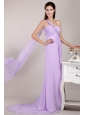Lavender Empire One Shoulder Watteau Train Chiffon Beading Prom / Party Dress
