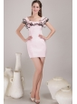 Baby Pink Sheath / Column Square Mini-length Satin Ruch Prom / Homecoming Dress