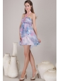 Popular Empire Halter Mini-length Print Beading Prom / Cocktail Dress