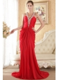 Red Column Halter Chapel Train Chiffon Beading and Ruch Prom Dress