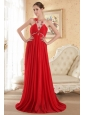 Red Empire Scoop Court Train Chiffon Beading Prom Dress