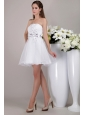 White A-line / Princess Strapless Mini-length Organza Appliques Prom / Cocktail Dress