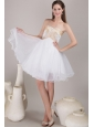White A-line / Princess Sweetheart Knee-length Organza Beading Prom Dress