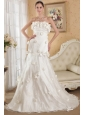Wonderful A-line Strapless Court Train Lace and Taffeta Hand Made Flowers Wedding Dress