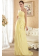 Yellow Column / Sheath One Shoulder Brush Train Chiffon Beading and Ruch Prom / Evening Dress