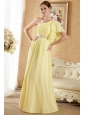 Light Yellow Column / Sheath One Shoulder Court Train Chiffon Beading and Ruch Prom / Evening Dress