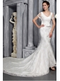 Beautiful Column/Sheath V-neck Chapel Train Lace Sash Wedding Dress