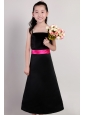 Black A-line Straps Ankle-length Taffeta Sash Flower Girl Dress