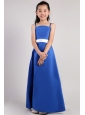 Blue A-line Straps Ankle-length Satin Belt Little Girl Dress