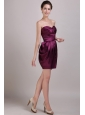 Burgundy Column Sweetheart Mini-length Satin Ruch Prom / Cocktail Dress