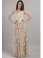 Champagne Empire Strapless Floor-length Chiffon and Satin Mother Of The Bride Dress