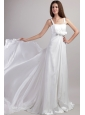 Exclusive Empire Straps Watteau Train Chiffon Handle Flowers Wedding Dress