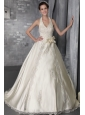 Fashionable A-Line/Princess Halter Brush/Sweep Satin Lace and Beading Wedding Dress