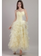 Light Yellow Empire Straps Ankle-length Organza Beading Prom / Evening Dress