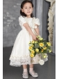 Off White A-line / Princess Scoop Tea-length Taffeta Beading Flower Girl Dress